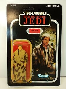 STAR WARS VINTAGE ROTJ HAN SOLO IN TRENCH COAT UNPUNCHED CARDED MOC KENNER 1983.
