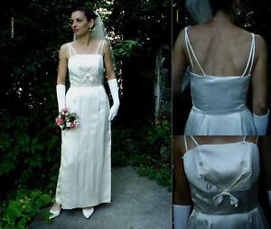 Vintage Original 50s Ivory Duchess Satin Tulip Wedding Dress! Size 8/10 Beauty..