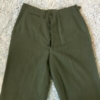 Vintage 1951 Wool Field Trousers Small Long Military US Army Green Serge RRL 50s