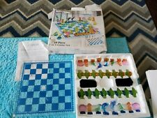 Fifth Avenue Ltd Crystal Chess Checkers Tropics Game Set Dolphin Fish Seahorse