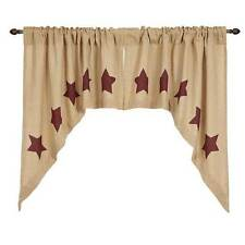Burlap w/Burgundy Stencil Stars Swag by VHC Brands (Victorian Heart) - Unlined