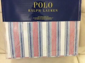 Polo Ralph Lauren Queen Sheet Set  NWT! 100% Cotton Red White Blue Stripe