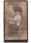 Fat Baby in Wood Wheeled Wicker Carriage Buggy CDV Photo