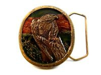 Vintage 1977 Peregrine Falcon Enameled Belt Buckle by Indiana Metal Craft