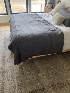 CRoscill King 100% Linen Duvet Cover Dark Gray Charcoal NWOT