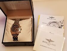 Vintage Men's Breitling 18K SS 25 Jewel #7750 Chronomat Watch w/ Box & Papers