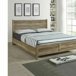 Queen Size Bed Frame Natural Wood like MDF in Oak Colour