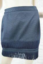 SASS & BIDE navy blue textured On The Fringe tassle A-line mini skirt size 8 GUC
