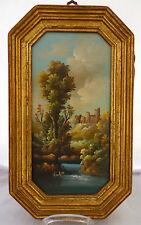 Ölbild,kleine romantische Landschaft,signiert,auf Kupfer gemalt? 20.Jhdt.