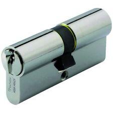 Cylindre canon barillet serrure de porte 5 pistons laiton nickelé 30 x 30 mm