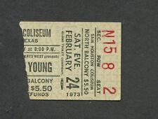 Original 1973 Neil Young Concert Ticket Stub Houston Harvest Time Fades Away