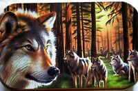 slim 1oz hinged Wolves In Trees tobacco tin with  rolling papers