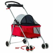 New red Pet Stroller 4 Wheels Cute Posh Folding Dog Cat Stroller w/Cup Holder