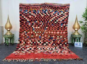 "Moroccan Handmade Vintage Rug 5'7""x7'7"" Berber Checkered Red Black Wool Rug"