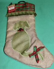 New Pet Christmas Stocking Red Green Plaid Trim N Bow Dog AppliquÉ Red Bell