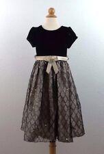 Cinderella Short Sleeve Dress Size 5 Girls Black Gold Velvet Sequins Lined Party