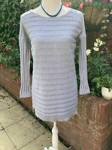 BARBOUR pale Blue Long Tunic Cotton Ribbed Jumper Size 12
