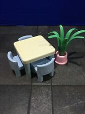 Vintage Little Tikes Dollhouse Furniture Table And Chairs AND Plant