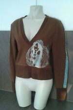Punky Fish Ladies Girls Size 6 8 Brown Blue Face Jumper Top Sweater Summer Wear