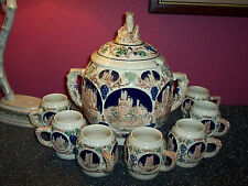 ANTIQUE GERTZ GERMANY large HEAVY wine,punch,beer bowl with 7 matching mugs