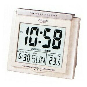 Casio TRAVEL DQ-750F (WHITE) TEMPERATURE LIGHT alarm clock Snooze FREE SHIP
