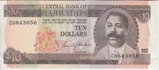 Barbados Banknote P. 33a-2090 10 Dollars Prefix C1 Sig Blackman VF-EF WE COMBINE