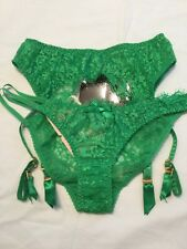 Vintage Agent Provocateur Payge Brief & Suspender Set Size Small Green Lace BNWT