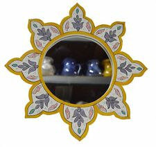 Moroccan Wall Mirror Colorful Hand Painted Wood Mediterranean Decor White/Yellow