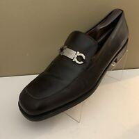 Salvatore Ferragamo Borges HorseBit Loafer Dark Brown Leather Mens Size 12 D