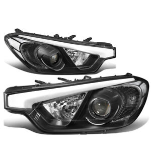 For 2014-2016 Forte 5 Koupe Black Housing Clear Corner Projector Headlight Lamps