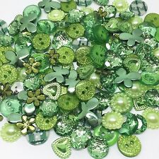 150 X Green Random Button and Flatback Mix Collection Card Craft Embellishments