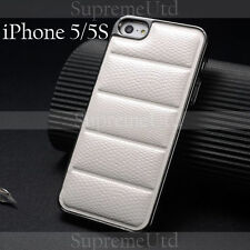 Ultra Thin Snake Patterned White Leather iPhone 5 5S Back Case Generic Cover