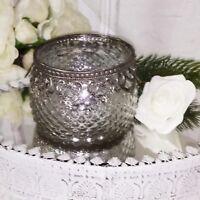 Teelichthalter Windlicht Deko Silber Glas  Bauernsilber 11x8cm Shabby Vintage