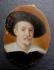 ANTIQUE MINIATURE SELF PORTRAIT PAINTING of GUIDO RENI - Signed