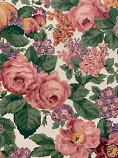 Vintage Wallpaper Katzenbach & Warren Floral Green Pink ROSES COTTAGE