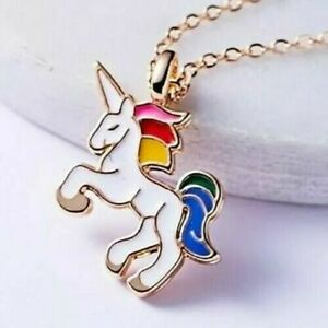 Unicorn Pendant Necklace Chain Kids Girls Jewellery Party Gifts Gold Cute