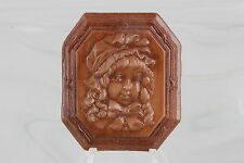 Colored Framed Unmounted Cameo 0521B Embossed Design Girl On Wood