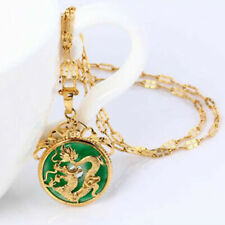 """24K Gold Plated Dragon Pendant Malaysia Jade Jewelry Chain Necklace 7/8"""" Us"""