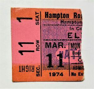 Elvis Presley Original Ticket Stub - March 11, 1974 - Hampton Coliseum, VA
