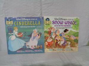 2 - Vintage Disney Record & Book - Snow White & Seven Dwarfs & Cinderella