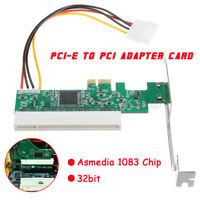 PCIe PCI Express X1 to PCI Adapter Card Riser Extender 32bit Asmedia 1083 Card
