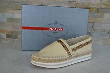 PRADA Talla 38,5 Zapatillas Mocasines zapatos Zapatos talco NUEVO