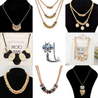 Vintage Women Pendant Chain Crystal Collar Choker Chunky Statement Bib Necklace