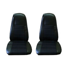 Seat Covers (PAIR) w/Pocket BLACK Faux Leather Peterbilt Freightliner Semi Truck