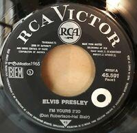 "Rare SP Promo Jukebox OR.France 1965 "" Elvis Presley - I'm Yours / (It's A) Long"