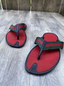 Rare Gucci Mens Sandals ❤️/ flip flop Red/green/💚Black Thong Nylon Shoes 170585