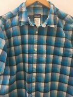 Patagonia Mens Button Front Shirt Large Plaid Blue Organic Cotton Short Sleeve