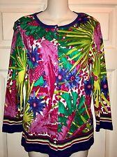 Rafaella Multicolor Floral Button Down Cardigan Sweater Size Medium