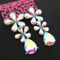 Women's AB Crystal Rhinestone Flower Teardrop Betsey Johnson Stud Earrings