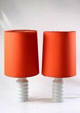 2x Années '70 Lampe De Table Lampadaire Set Rétro Vintage Vase Culte DDR orange